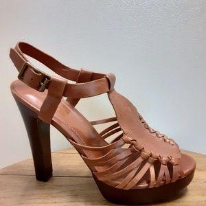 🆕Ralph LAUREN Caramel Brown Caged Leather Heels